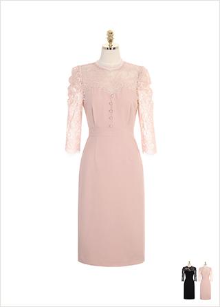 op7746 고혹적인 레이스 시스루 장식의 슬림 미디롱 원피스 dress