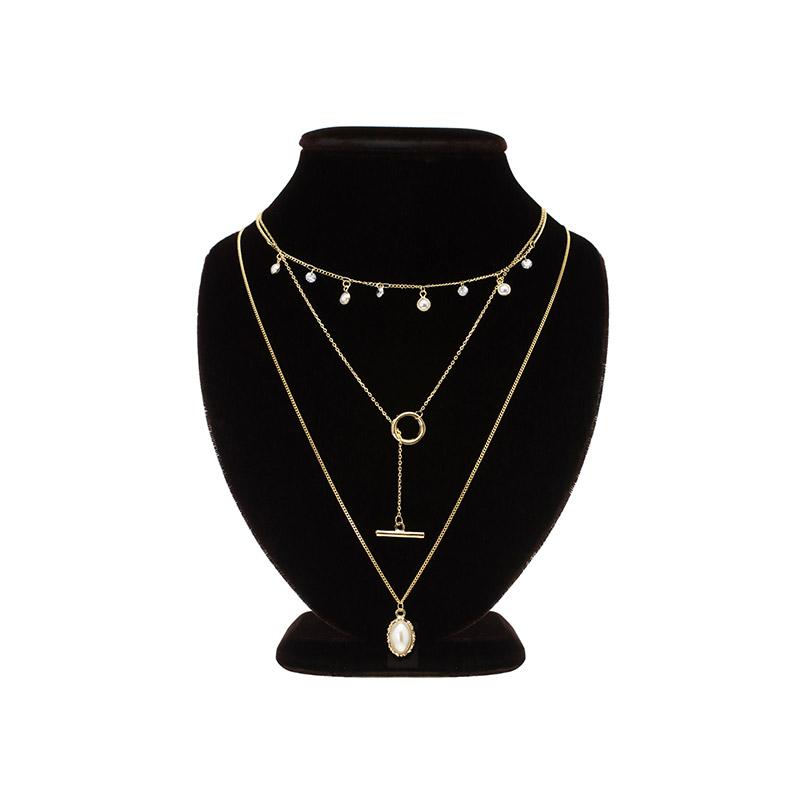 ac4181 드레시한 무드의 진주장식 3줄 레이어드 네크리스 necklace