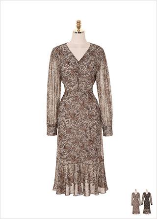 op7775 에스닉 패턴이 매력적인 셔링디테일 쉬폰 롱원피스 dress