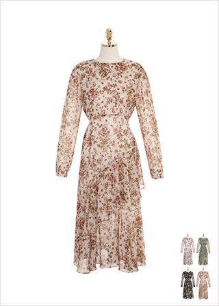 op7777 서정적인 플라워 패턴의 언발 프릴 장식 쉬폰 롱 원피스 dress