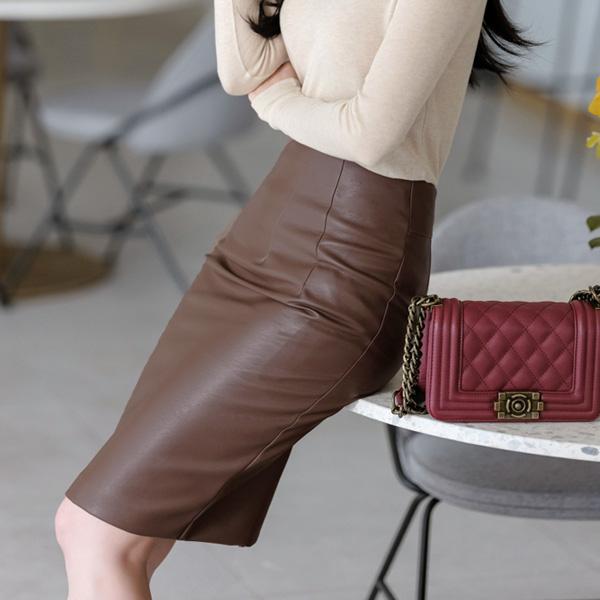 sk3722 은은한 광택감의 H라인 레더 미디롱 스커트 skirt