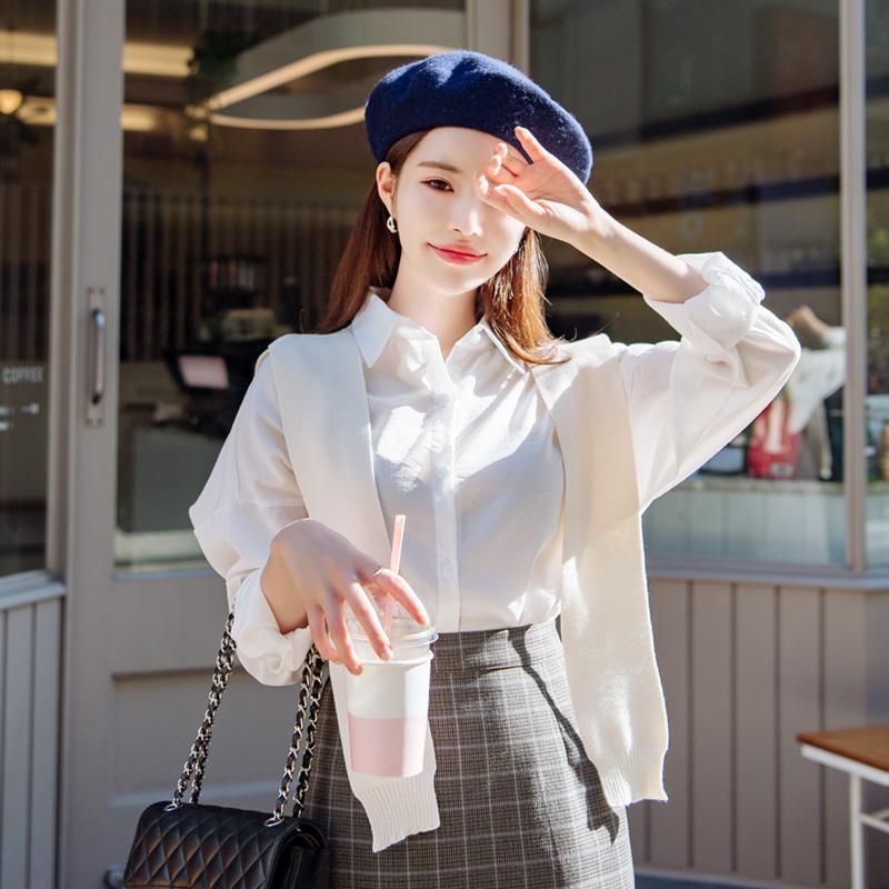 bs4703 달콤한 마카롱 색감의 잔 스트라이프 베이직 루즈핏 셔츠 블라우스 blouse