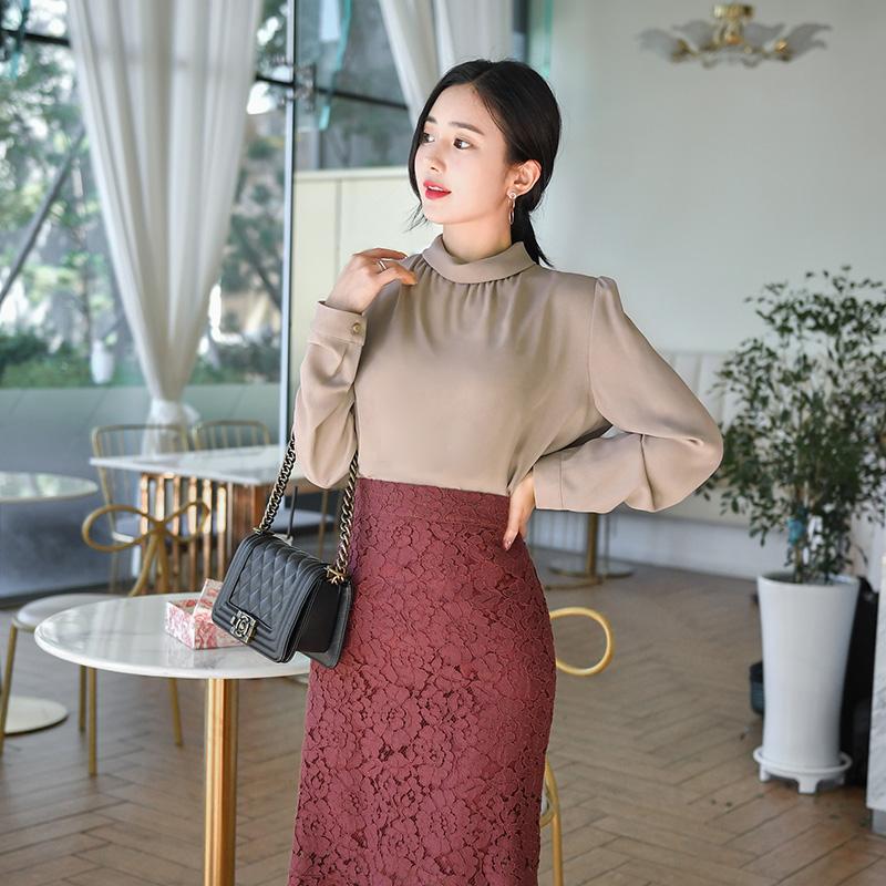 bs4714 로맨틱한 터틀넥 폴라 디자인의 베이직 베이직 블라우스 blouse