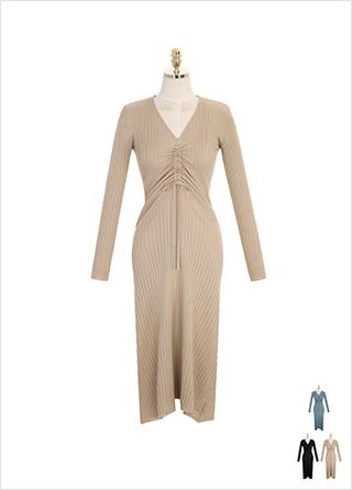 op7829 페미닌 무드의 바스트 셔링 슬림핏 골지 니트 롱 드레스 dress