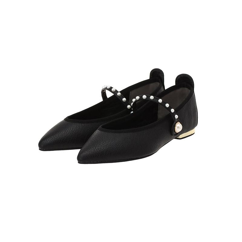 sh1649 발등 진주볼 포인트로 로맨틱하게 완성된 스트랩 플랫슈즈 shoes