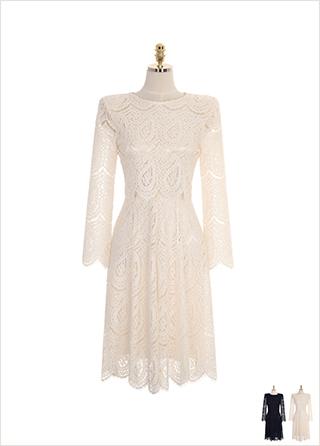 op7872 고퀄리티 레이스 소재로 제작된 레이어드형 A라인 롱 드레스 dress