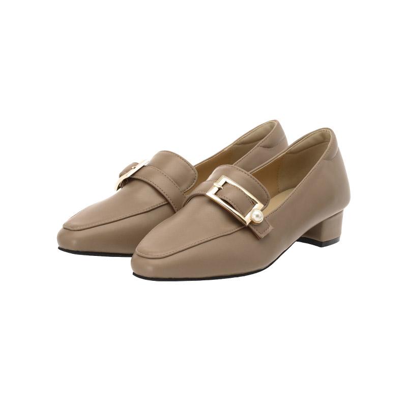 sh1655 로맨틱한 진주 스퀘어 버클 장식의 로우굽 로퍼 shoes