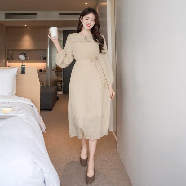 op7896 소녀감성 가득 걸리쉬한 세일러 카라 장식의 플리츠 플레어 롱 원피스 dress