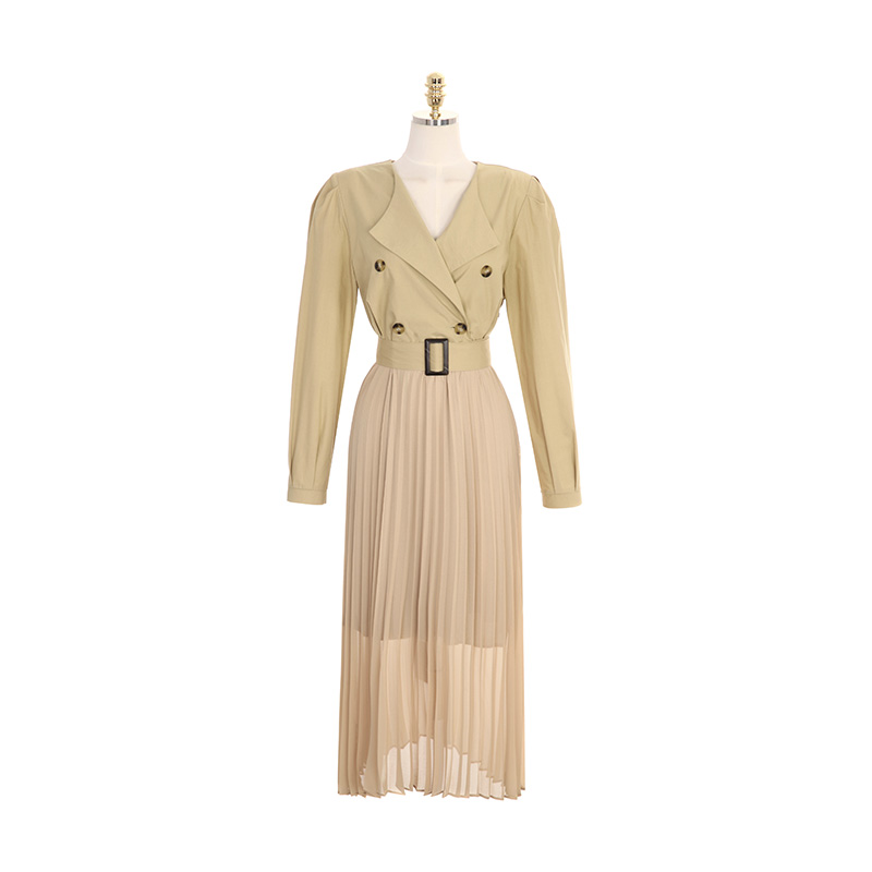 op7906 가을 무드를 선사해 드릴 벨트 포함 더블버튼 트렌치 롱 플리츠 드레스 dress