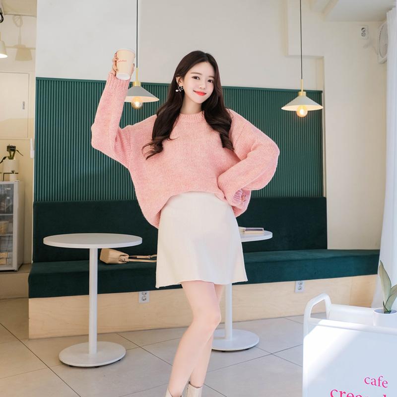 sk3760 부드럽고 쫀쫀한 니트원단의 허리밴딩 A라인 미니스커트 skirt