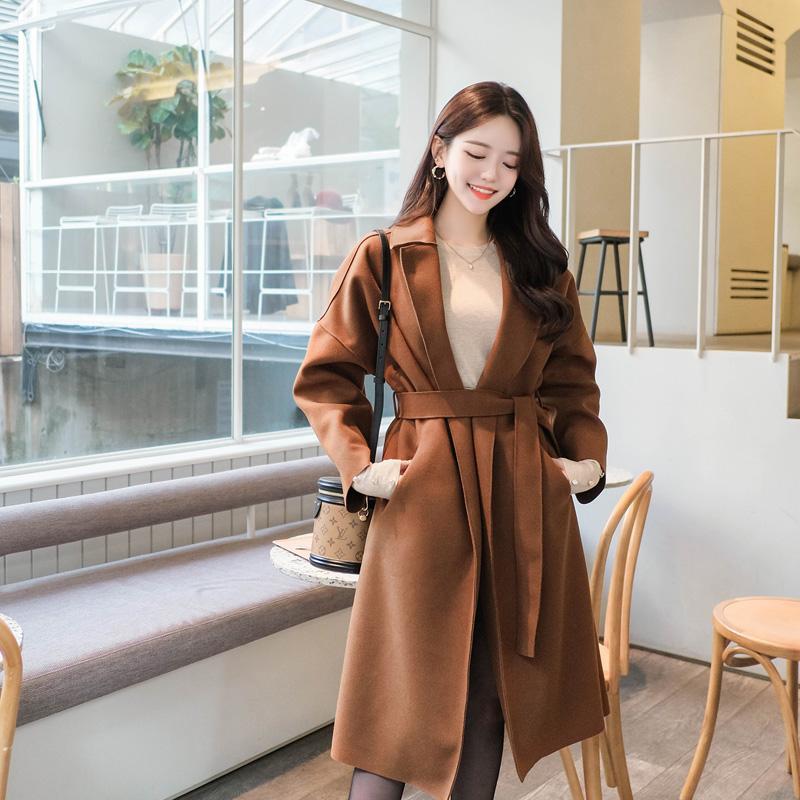 ct1026 데일리로 좋은 넉넉한 루즈핏 디자인의 벨트세트 롱 코트 coat