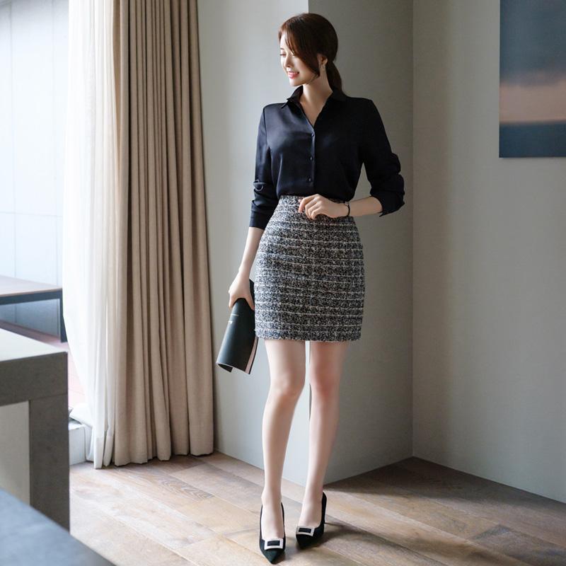 sk3774 고급스러움 가득한 클래식 트위드 H라인 스커트 skirt