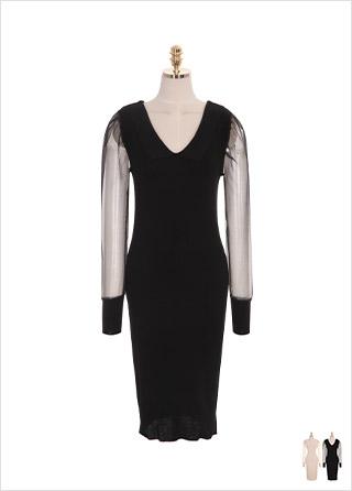 op7919 편안하게 착용하기 좋은 시스루 소매 카라넥 H라인 니트 롱 드레스 dress