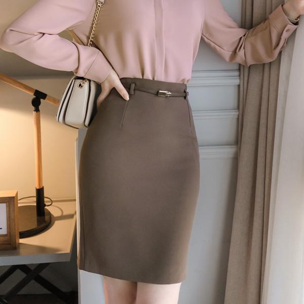 sk3773 하이퀄리티로 제작된 금장 슬림 벨트 h라인 미디스커트 skirt