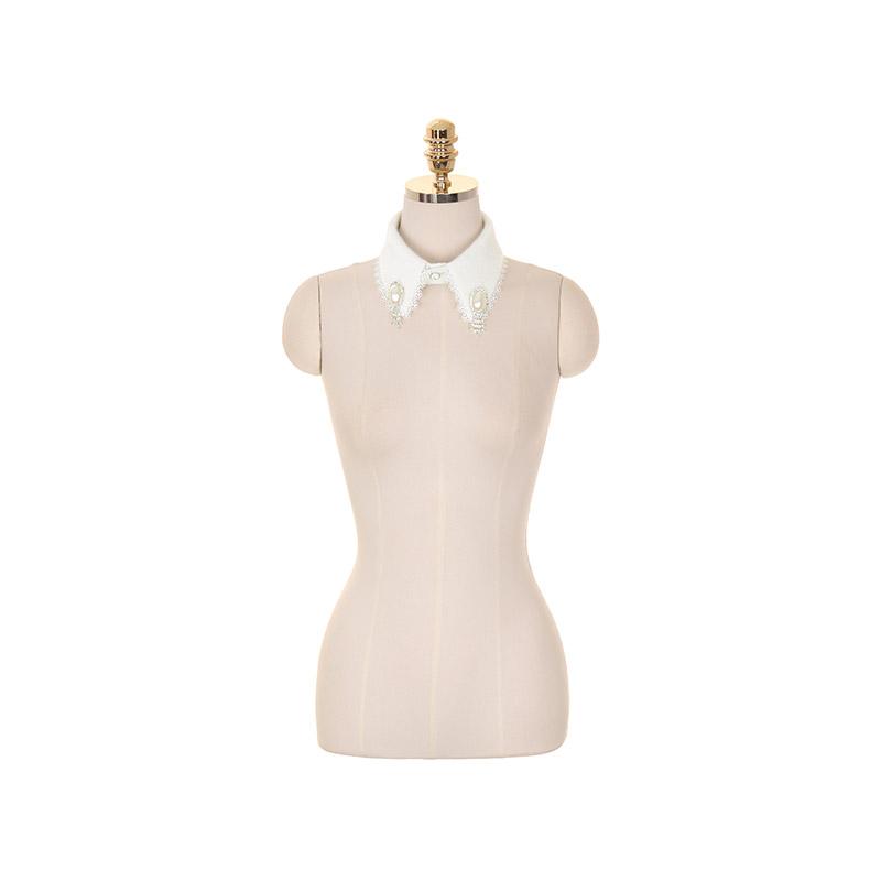 ac4193 앙고라 터치감이 느껴지는 진주레이스 장식의 셔츠 퍼 카라 shirt collar