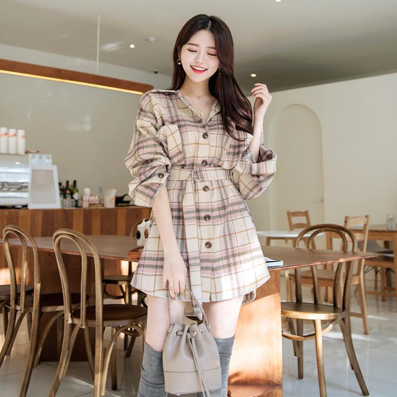 bs4757 빅포켓 장식과 기모 소재로 트렌디한 체크 패턴의 D링 벨트세트 롱 셔츠 blouse