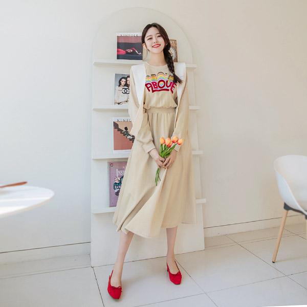 op7965 컬러풀 벨벳 레터링 포인트와 편안함 가득한 허리밴딩 롱 플레어 맨투맨 원피스 dress