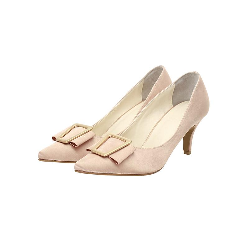 sh1670 골드리본 장식으로 페미닌하게 완성된 샤틴 슬림코 펌프스 힐 shoes
