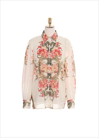 bs4766 셀럽이 입은 디자인 그대로 재현 된 로맨틱한 패턴의 레이스 시스루 블라우스 blouse