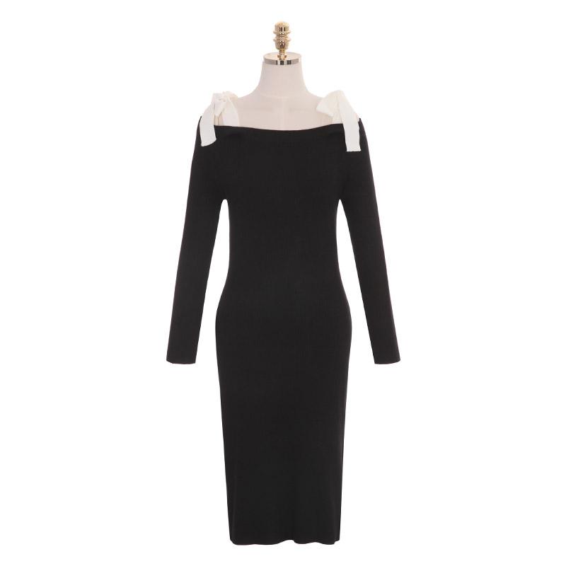 op7997 쫀쫀한 골지 니트로 제작된 리본끈 서스펜더 H라인 롱 드레스 dress