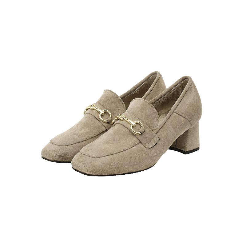 sh1704 퍼 안감으로 무척 따듯한 골드 비조장식의 스웨이드 미들힐 로퍼 shoes