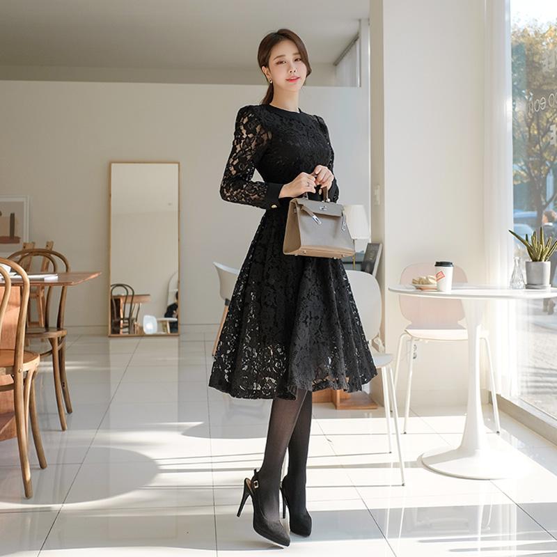 op8010 금장 더블 단추 디테일의 배색 라인 포인트 플라워 레이스 롱원피스 dress