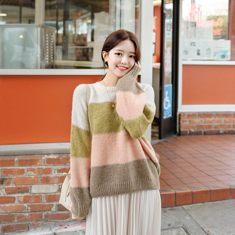 nt1924 부드러운 컬러감의 금사 포인트 단가라 루즈핏 니트 knit