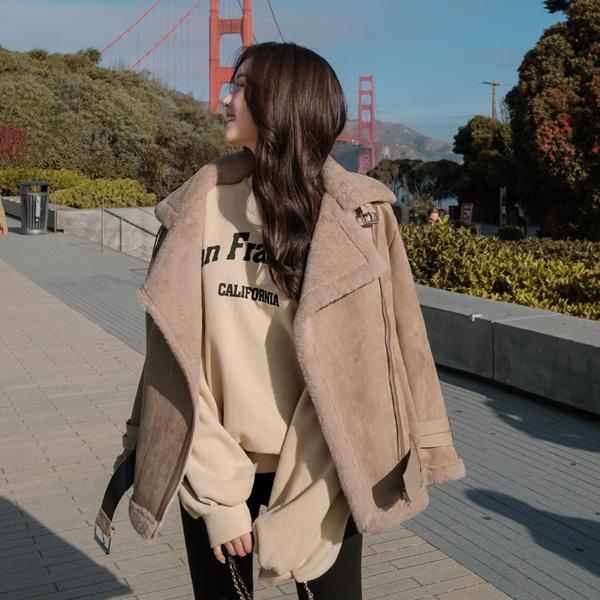 jk1034 부들부들한 퍼 안감의 시크 무드 벨트 포인트 숏 무스탕 자켓 jacket
