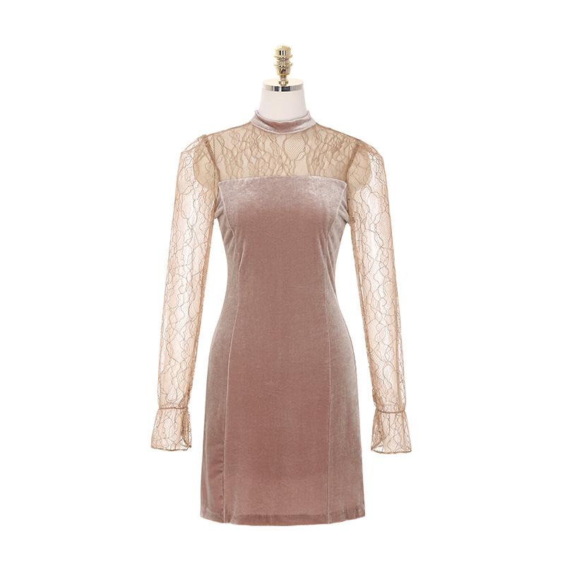 op8066 연말 파티룩으로 제격인 시스루 레이스와 벨벳 패브릭의 A라인 미디 드레스 dress