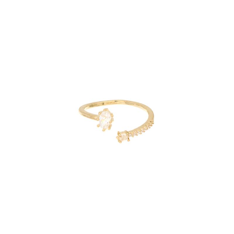 ac4254 사이즈 조절이 가능한 더블 물방울 큐빅 장식의 포인트 반지 ring