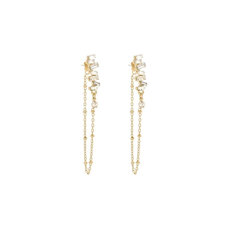 ac4243 영롱한 언발란스 큐빅 쉐입의 골드 체인 드롭 은침 이어링 earring