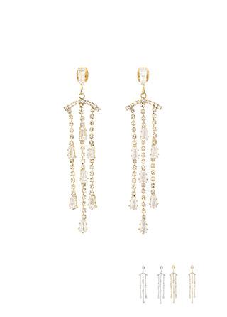 ac4246 마치 샹들리에처럼 품격있게 제작된 3줄 롱 드롭 큐빅 은침 이어링 earring