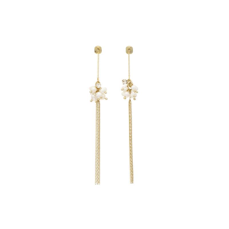 ac4248 고급스러운 담수진주볼 장식의 여리한 체인 롱 드롭 이어링 earring