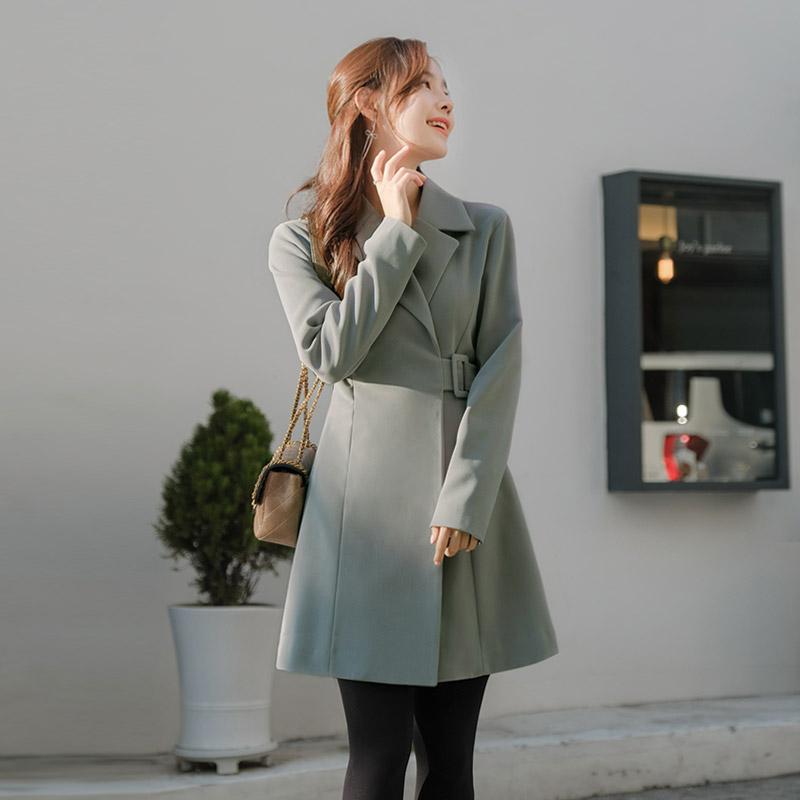 op8050 보석단추 벨트클로징의 슬림 랩디자인 자켓원피스 dress
