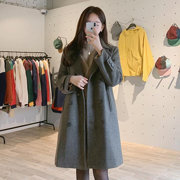 ct1079 따뜻함 가득한 와이드한 카라디테일의 패딩안감 소매비조 더블코트 coat