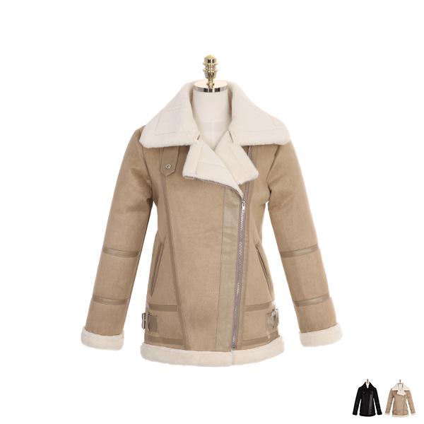 jk1051 부드러운 인조퍼 안감의 가죽 배색 포인트 지퍼 포켓 베이직 무스탕 jacket