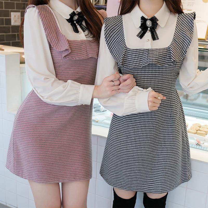 op8085 예쁨폭발 리본브로치 장식의 하운드체크 배색 A라인 원피스 dress
