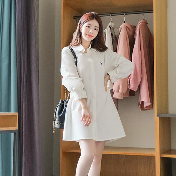 op8086 부드러운 기모 소재로 제작된 클래식무드 승마자수 포인트의 셔츠 미니 원피스 dress