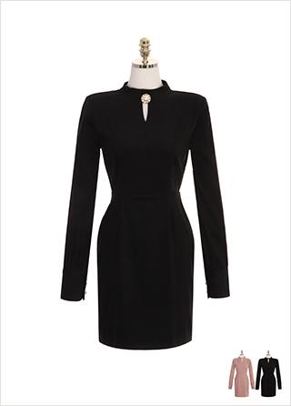 op8069 고급스러운 진주 장식 포인트의 하이넥 코듀로이 H라인 미니 드레스 dress
