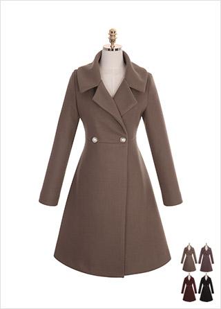 ct1065 와이드한 카라 디테일의 진주 장식 포인트 A라인 롱코트 coat
