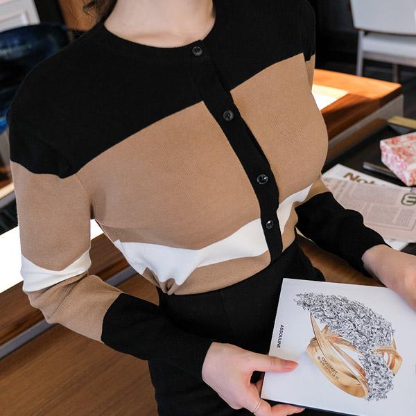 cd1227 고급스러운 배색 디자인의 라운드넥 니트 가디건 cardigan