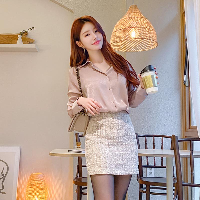 bs4788 10가지 컬러라인의 우아한 광택패브릭 베이직 샤틴블라우스 blouse
