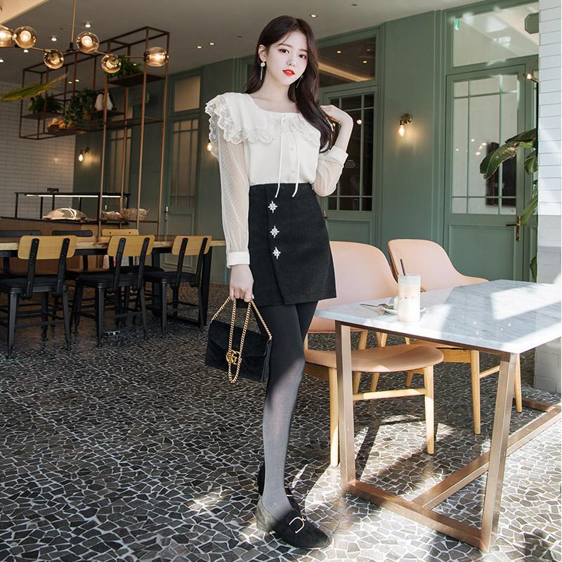 sk3835 블링블링 큐빅 포인트 장식의 소프트 코듀로이 페이크랩 미니스커트 skirt