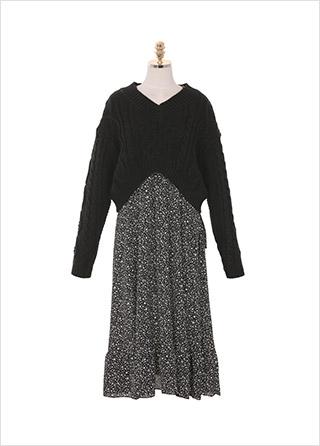 op8113 여리여리한 쉬폰 패턴 프릴 롱 원피스와 트렌디한 무드의 꽈배기 브이넥 뒷 리본 크롭 니트 세트 dress set