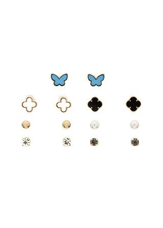 ac4270 다채로운 7가지로 구성된 크로바 진주큐빅 장식의 이어링 세트 earring