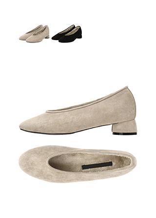 sh1725 폭신한 퍼안감으로 마무리된 스웨이드 둥근코 장식의 라운드굽 미들힐 shoes