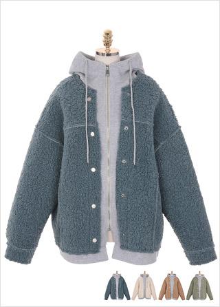ct1096 트렌디한 페이크 버튼 디테일의 부드러운 뽀글 양털 숏 후드 레이어드 무스탕 코트 coat