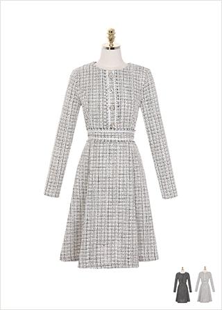 op8161 명품 레이블 감성의 트위드 소재로 제작된 A라인 미디 드레스 dress