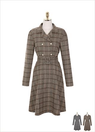op8163 클래식한 체크 패브릭의 카라넥 더블 버튼 벨트포함 A라인 미디 드레스 dress