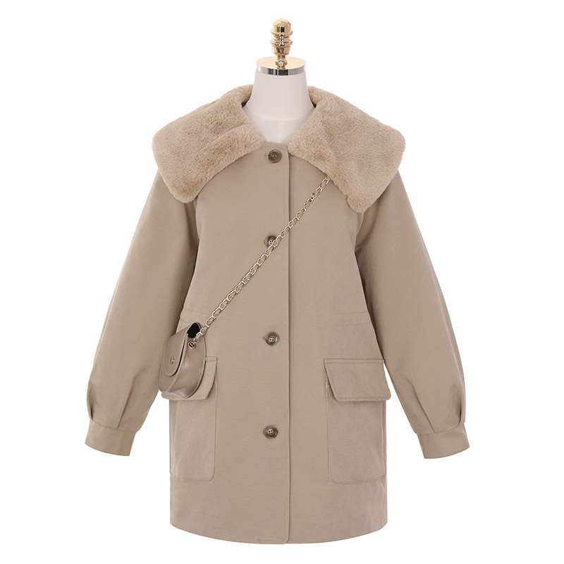 jk1073 귀여운 미니백 세트로 제작된 부드러운 에코퍼 안감의 허리 밴딩 빅카라 미디 자켓 jacket